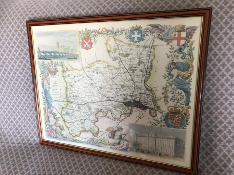 Schilderij   Landkaart van het oude Middlesex in Engeland
