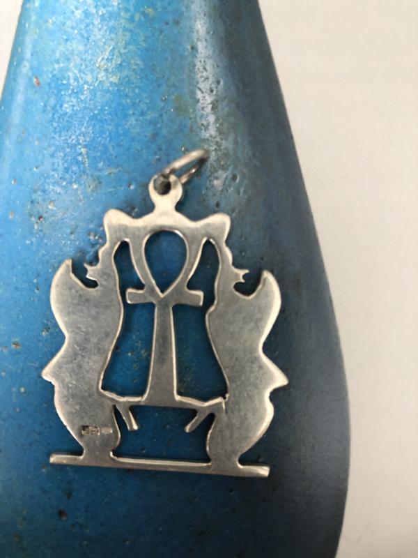 Sieraden | 'Ankh met twee slangen' - Sterling zilveren ketting hanger | 7 gram