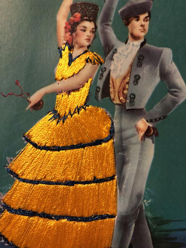 Spanje | Kaarten | Geborduurde kaart flamenco dansers (geel) met gele jurk - Valentia | Tarjeta postal