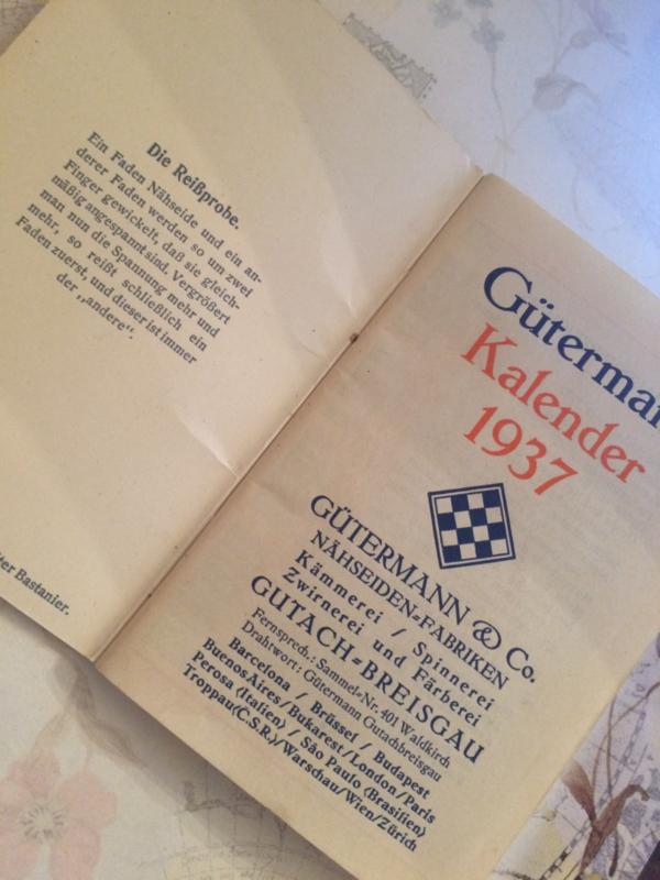 . Gütermann | Agenda 1937 - Die Reissprobe