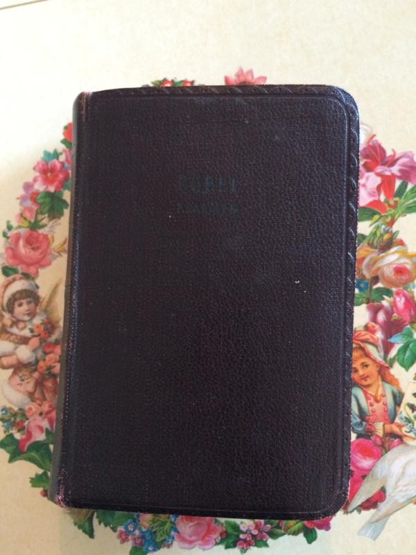 1940 | Oud leren sober brocante bijbeltje | Psalmen | ca. 1940 ZETKA