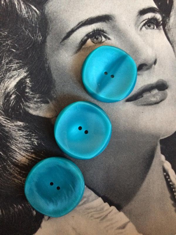 Knopen | Blauw -  30 mm jasjes 3 stuks (Turquoise) | vintage jaren '60