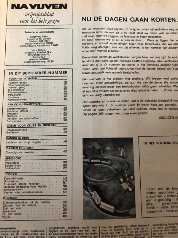Hobby | Tijdschriften | Vrijetijdsblad NA VIJVEN | nr. 213 september 1969