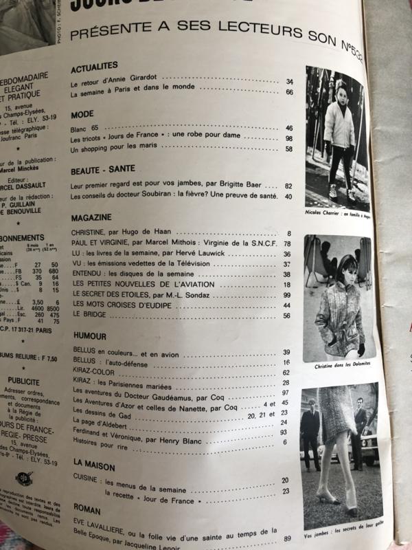 1965 | Jours de France |  no 253 Janvier 1965  'Le Blanc' - special met nachtkleding