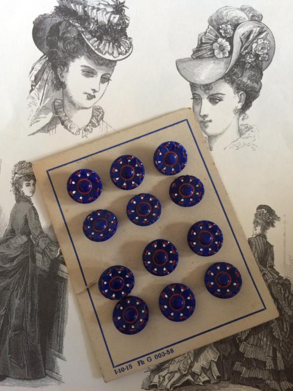 Knopen   Jugendstil   Blauw   Antieke knopenkaartje vol met 12 prachtige antieke knopen    glas   Antiek   1890-1910