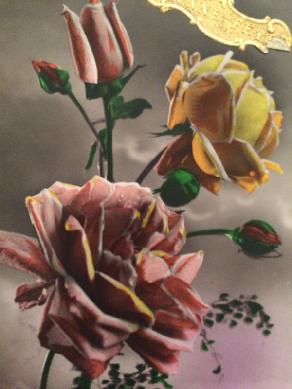 1920 | Nieuwjaar | Antieke postcard 'Ketty 359' rozen met gouden stickertje Bonne Annee