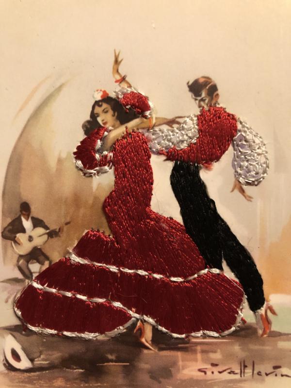 Spanje | Kaarten | Geborduurde kaart flamenco dansers (rood) met rode jurk  | Tarjeta postal - jaren '50