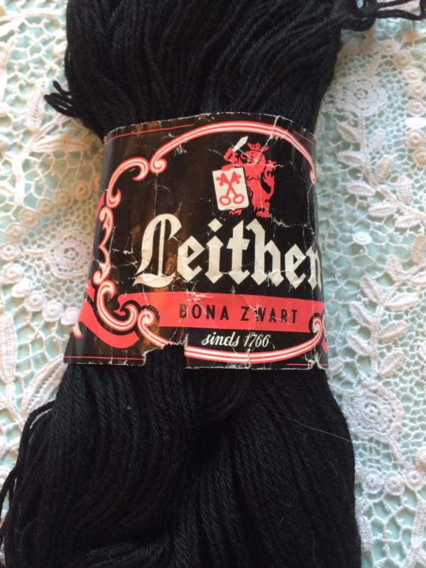 Wol | Zwart - Vintage sokkenwol Leithen Bona Zwart sinds 1766 - 100 gram | jaren '50