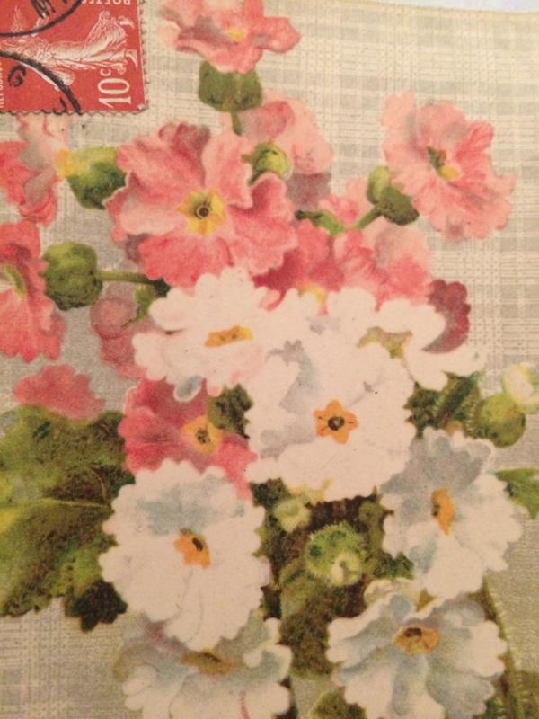 1908 - Antieke bloemen Carte Postale met postzegel Je Vous aime toujours | beschreven