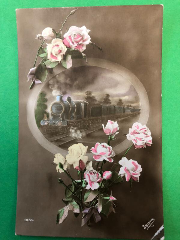 1916 - Antieke briefkaart met rozen en een trein