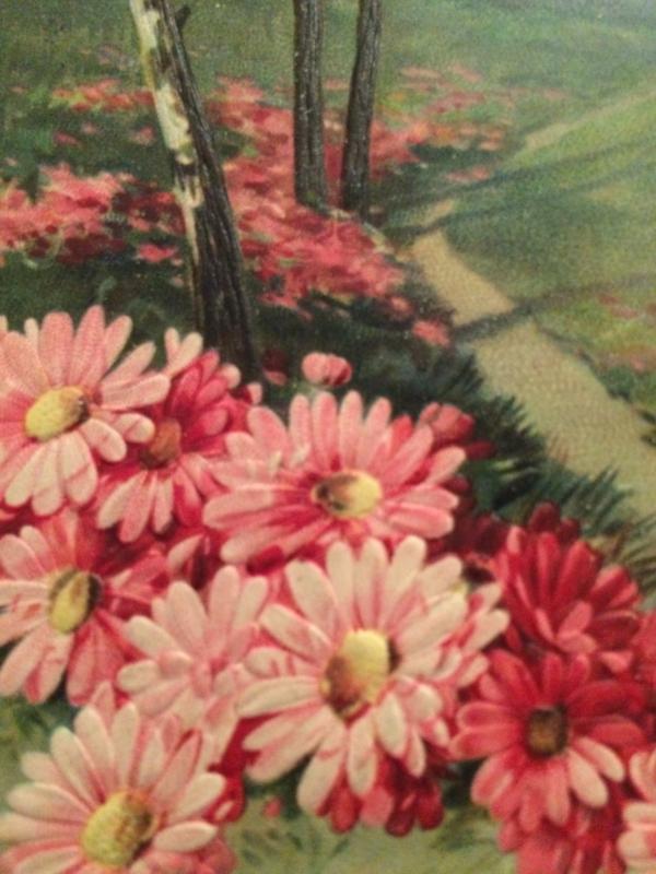 1911- antieke reliëf briefkaart met bloemen in landschap met berken souhaits sincères!