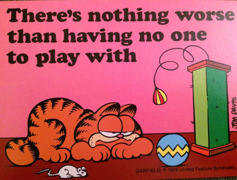 1978 - Garfield - vintage briefkaart No one to play with