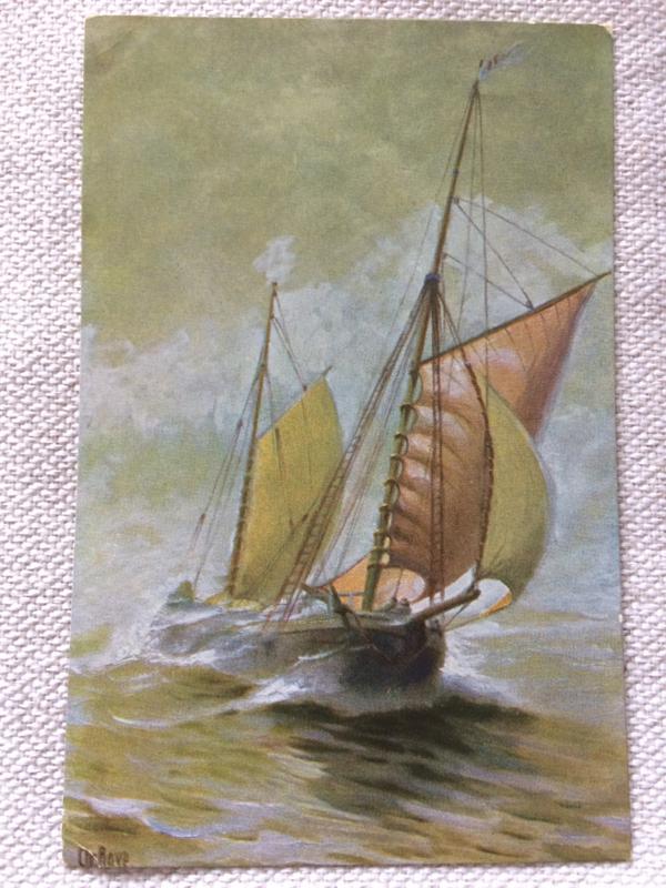 """Briefkaart   no. 136 """"Kustvaarder met Yawltuig"""" 1894   1910-1920"""