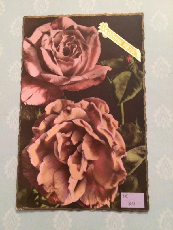 1919 - Antieke kaart met roze rozen Bonne Fete J.C. 311 Photo Veritable