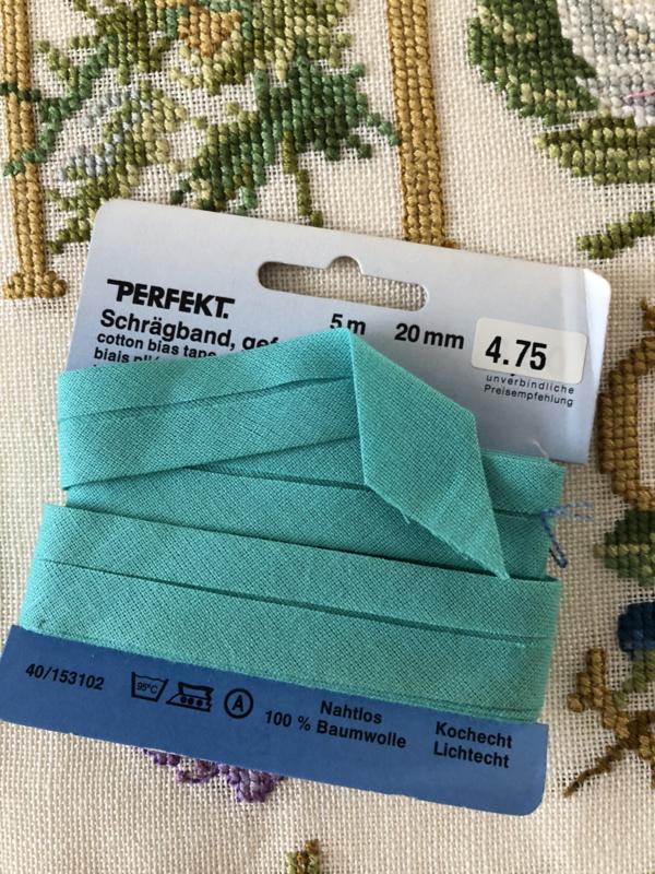 Band   Groen   Biaisband   Licht groen / azuurblauw   2 cm   100% katoen   PERFEKT - dubbele naad - kleurecht - wasbaar tot 95 ℃