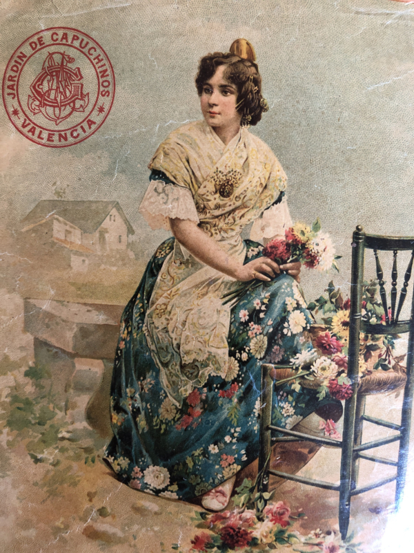 """1900   Oud plaatje """"Spaanse meisje met bloemen"""" in Valencia"""