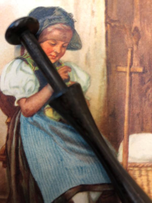 Ebbenhouten kantklosje     Lace Bobbin Turned Treen Pillow Lace Mid Victorian   1850-1870