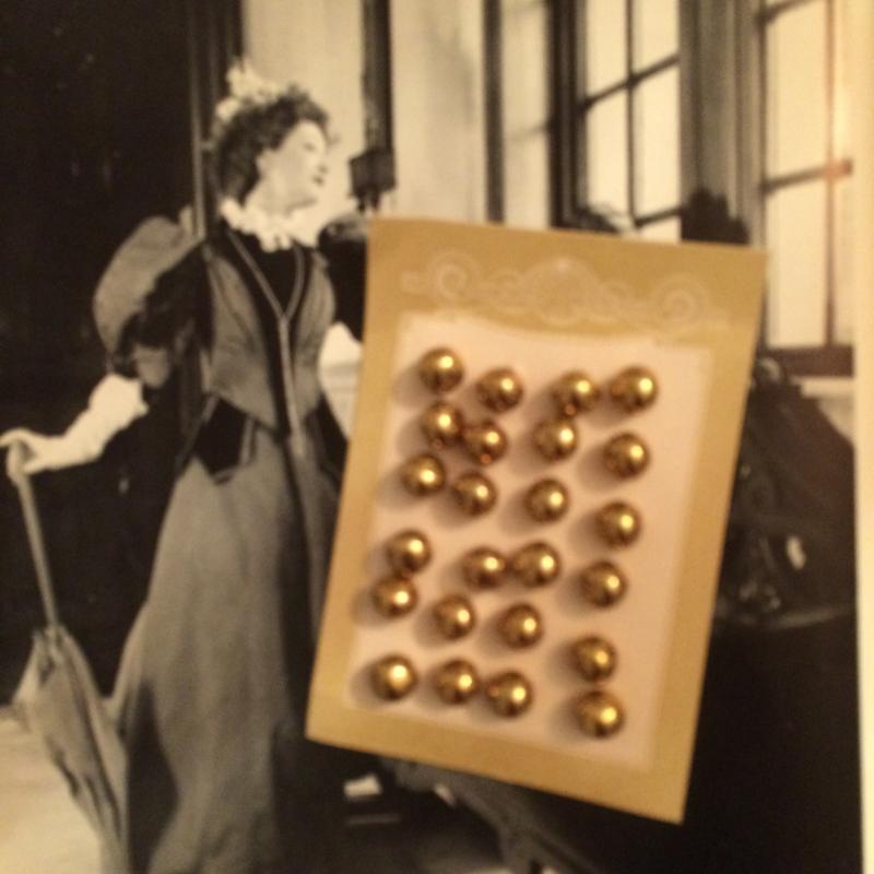 Goud   knopenkaartje (24 stuks) - glas   Jugendstil - Antiek   1890-1910