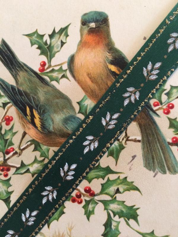 Lint | Groen - Folklore | blaadjes met gouden randje 1 cm