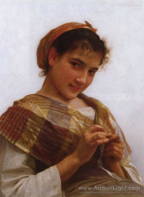 Young girl crocheting 1889 William Bouguereau