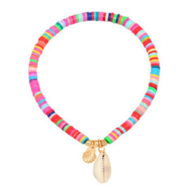 Multicolor kralen armband -  schelp