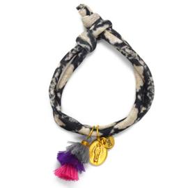 Snake Elastic - Coin & Tassel Grey, Purple en Pink