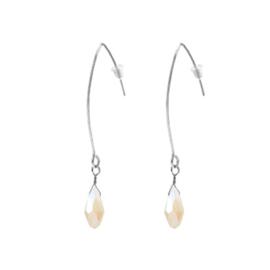 Raindrop Earrings Silver - Cream Beige