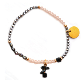 Crystal Beads & Stone - Black, Silver & Gold