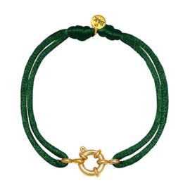 Armbandje met goudkleurig slotje en groen satijnen bandje