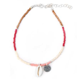Ankle Strap Mini Beads - Red, White, Pink & Bronze