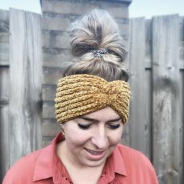 Winter haarband fluffy 2.0 bruin/ geel