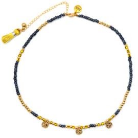 Ketting Kraaltjes Muntjes - Blauw, Geel en Goud