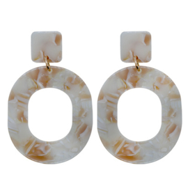 Oval Earrings - Beige