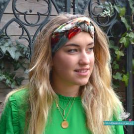 Haarband Bandeau Velvet Bloemen Blauw/ Groen