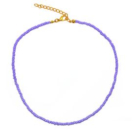 Ketting kleine kraaltjes paars/ lila