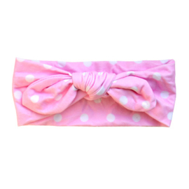 Knot Headband Dots Girls - Pink & White