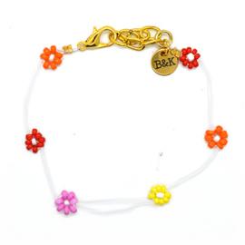 Armbandje met madeliefjes rood, oranje, geel en lila