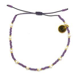 Armbandje koord mini pareltjes lila