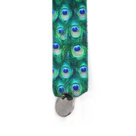 Armbandje Elastiek Veren - Blauw, Groen en Zilver