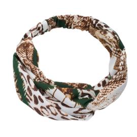 Twist Headband - Snake Green, Brown & Off White