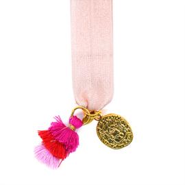 Armbandje Elastiek met Munt Lichtroze, Goudkleurig en Roze