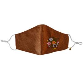 Mondkapje bruin met bloemetjes