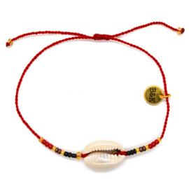 Armbandje Schelpje Koord Indian - Rood