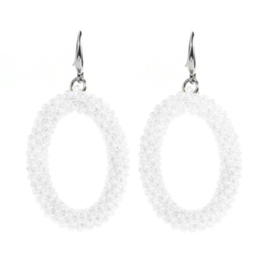 Oval Bead Earrings - White