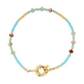 Armbandje met goudkleurig slotje, blauw en goudkleurige kraaltjes