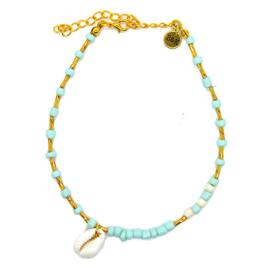 Enkelbandje goudkleurige, blauw en witte kraaltjes met schelpje