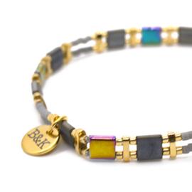 Armbandje Platte Kralen - Paars, Grijs, Zilver & Goud
