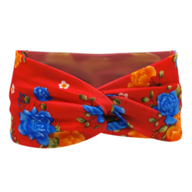 Twist Headband - Red & Flowers