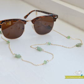 Sunglasses Cord - Green Stone & Gold