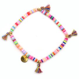 Armbandje Multicolor Kralen - Mini Kwastjes